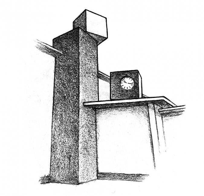 Führung à point Kunstgeschichten, Bild: Urs Aeschbach, Uhrenwürfel, 2014, Schulhaus Niederholz, Illustration © Stephan Liechti